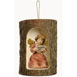 Bell angel with notes in a tree trunk hanging