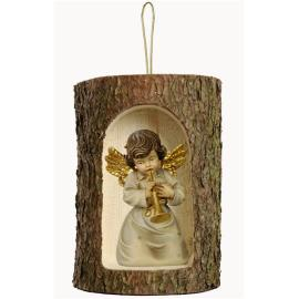 Bell angel with trump in a tree trunk hanging