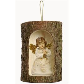 Bell angel praying in a tree trunk hanging