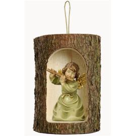 Bell angel with flute in a tree trunk hanging