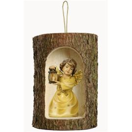Bell angel w.lantern in a tree trunk hanging