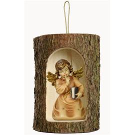 Bell angel with book in a tree trunk hanging