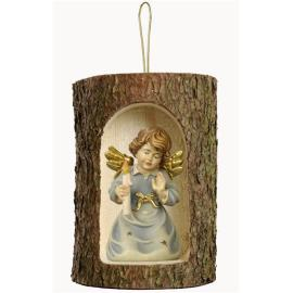Bell angel w. candle in a tree trunk hanging