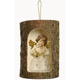 Bell angel with bell in a tree trunk hanging