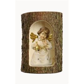 Bell angel with bell in a tree trunk