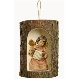 Bell ang.with accordion in a tree trunk hanging