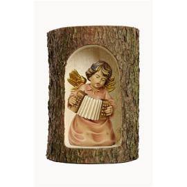 Bell angel with accordion in a tree trunk
