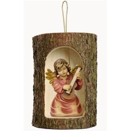 Bell angel with guitar in a tree trunk hanging