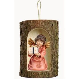 Bell angel w.parcel in a tree trunk hanging