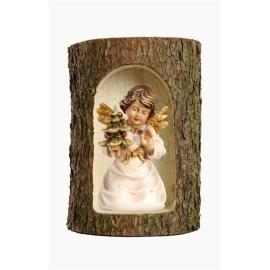 Bell angel with tree in a tree trunk