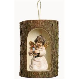Bell angel w.lyre in a tree trunk hanging