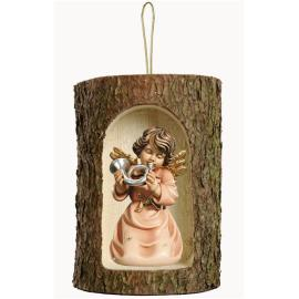 Bell angel with horn in a tree trunk hanging