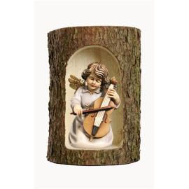 Bell angel with double-bass in a tree trunk