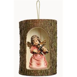Bell angel with violin in a tree trunk hanging