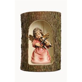 Bell angel with violin in a tree trunk