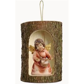 Bell angel with drum in a tree trunk hanging
