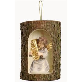 Bell angel with tuba in a tree trunk hanging