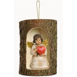 Bell angel with heat in a tree trunk hanging