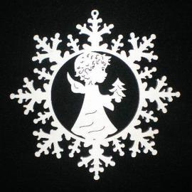 Snow star with angel and tree