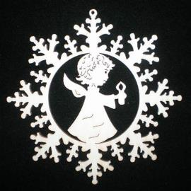 Snow star with angel and candle